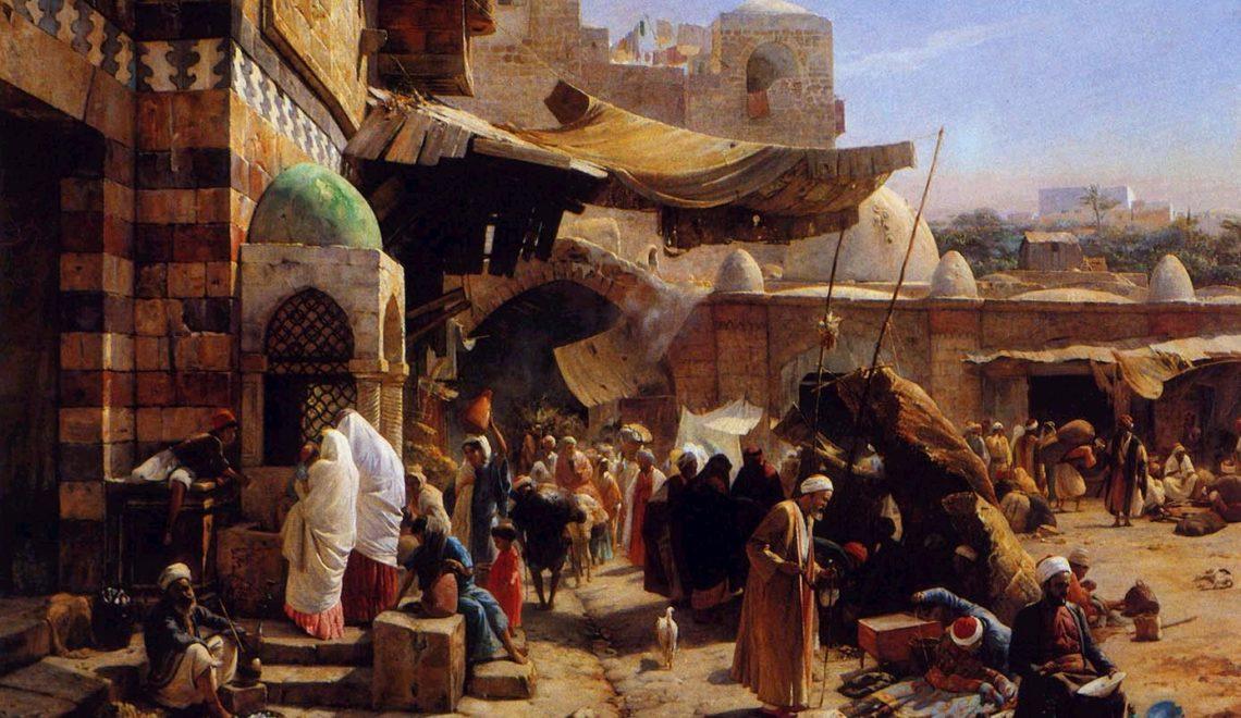 Raffigurazione pittorica di un mercato arabo in Jaffa - Market in Jaffa Gustav Bauernfeind Germany, 1887