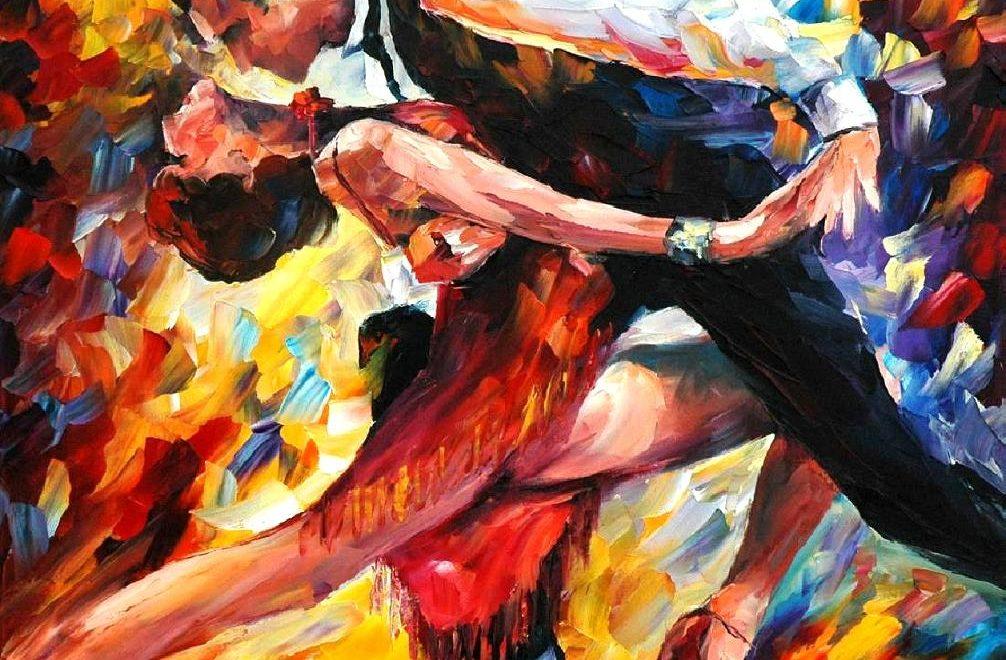 Leonid Afremov, oil on canvas, Tango