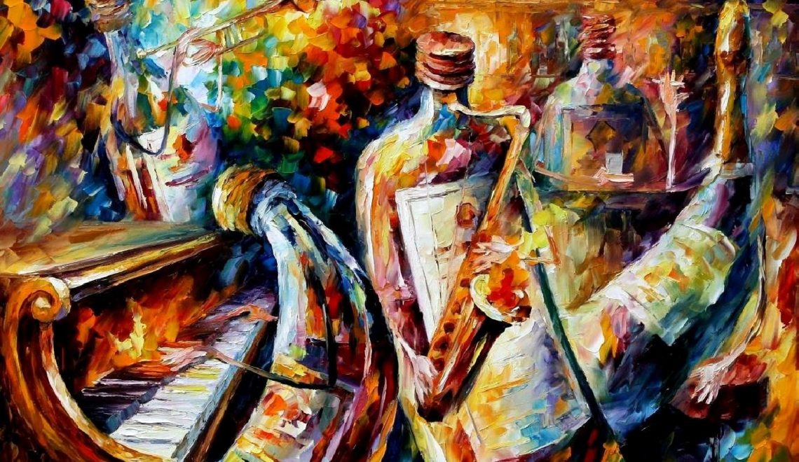BOTTLE JAZZ — PALETTE KNIFE Oil Painting On Canvas By Leonid Afremov